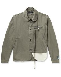 Reese Cooper Penny-collar Asymmetric Linen And Cotton-blend Jacket - Grey