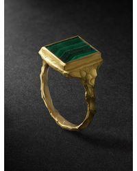 Elhanati Gold Malachite Ring - Metallic