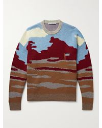 Acne Studios Wool And Cotton-blend Jacquard Jumper - Brown
