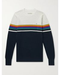 Outerknown Nostalgic Striped Waffle-knit Organic Cotton-blend Jumper - Blue