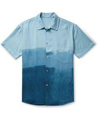 The Elder Statesman Camp-collar Dégradé Nep Silk Shirt - Blue