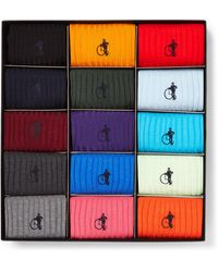 London Sock Company The Simply Sartorial 15-pack Ribbed Stretch Cotton-blend Socks - Blue