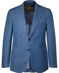 Tod's - - Blue Slim-fit Washed-denim Blazer - Blue - Lyst