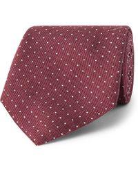 Hackett - 8cm Pin-dot Silk And Linen-blend Tie - Lyst
