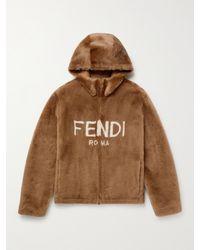 Fendi Logo-print Shearling Hooded Jacket - Brown