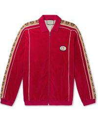 06476e816 Gucci Oversized Logo-appliquéd Webbing-trimmed Piped Velvet Track Jacket