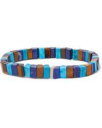 Luis Morais 14-karat Gold Lapis, Turquoise And Tiger's Eye Bracelet - Blue