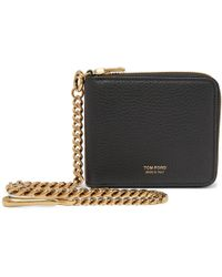 Tom Ford Chain-embellished Full-grain Leather Zip-around Wallet - Black