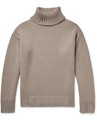Deveaux Justin Ribbed Wool And Cashmere-blend Rollneck Jumper - Brown