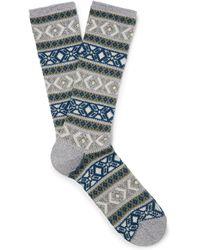 Anonymous Ism - Fair Isle Cotton-blend Socks - Lyst