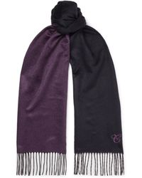 Canali Reversible Fringed Silk And Cashmere-blend Scarf - Blue