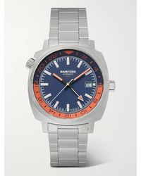 BAMFORD LONDON Gmt Automatic 40mm Stainless Steel Watch - Blue