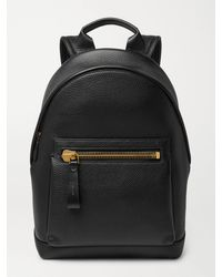 Tom Ford Grained Leather Backpack - Black