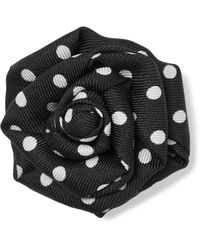 Charvet Polka-dot Silk-faille Lapel Pin - Black
