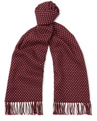 Tom Ford Fringed Polka-dot Wool, Silk And Cashmere-blend Scarf - Multicolour