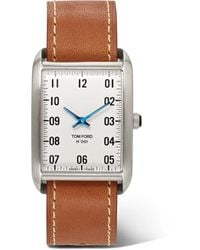 Tom Ford 001 Stainless Steel And Leather Watch - White