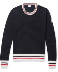 Moncler Gamme Bleu - Stripe-trimmed Waffle-knit Cotton Sweater - Lyst