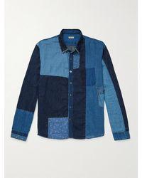 Kapital Printed Patchwork Cotton And Linen-blend Chambray Shirt - Blue