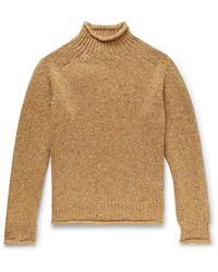 YMC Oversized Mélange Merino Wool Rollneck Jumper - Yellow