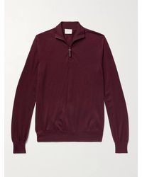 Brioni Mélange Wool Half-zip Jumper - Red