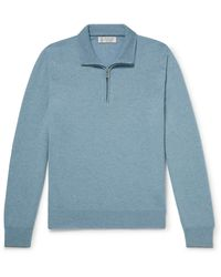 Brunello Cucinelli Cashmere Half-zip Sweater - Blue