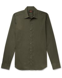 Tod's Slim-fit Garment-dyed Cotton-blend Twill Shirt - Green