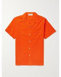 Alex Mill Camp-collar Cotton-seersucker Shirt - Orange