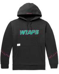 WTAPS Drifters Embroidered Mélange Fleece-back Cotton-blend Jersey Hoodie - Black