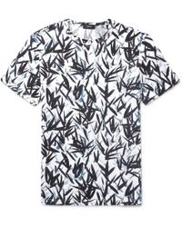 Theory - Printed Slub Linen-jersey T-shirt - Lyst