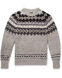 Monitaly + Chamula Fair Isle Merino Wool Jumper - Grey