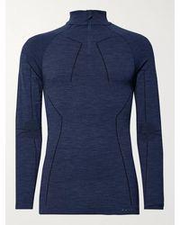 FALKE Stretch Virgin Wool-blend Base Layer - Blue