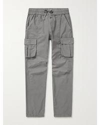 John Elliott Garment-dyed Cotton-sateen Drawstring Cargo Trousers - Grey