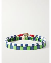 Roxanne Assoulin Spectator Sport Set Of Two Enamel Bracelets - Green