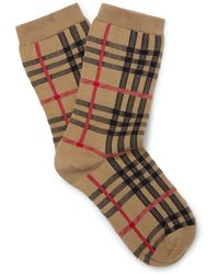 Burberry - Checked Stretch Cotton-blend Socks - Lyst