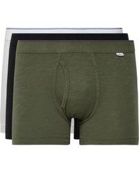 Schiesser Hanno Three-pack Stretch-cotton Boxer Briefs - Green