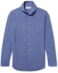 SALLE PRIVÉE Blue Evron Slim-fit Cutaway-collar Cotton-poplin Shirt
