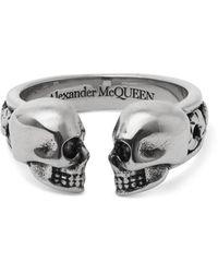 Alexander McQueen Skull Silver-tone Ring - Metallic