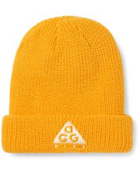 Nike Acg Logo-embroidered Ribbed-knit Beanie - Yellow