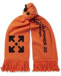 Off-White c/o Virgil Abloh Logo-jacquard Knitted Scarf - Orange