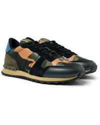 2611d76881324 Valentino - Garavani Rockrunner Camouflage-print Canvas, Leather And Suede  Sneakers - Lyst
