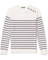 Balmain - Buttoned Striped Wool Jumper - Lyst