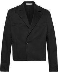 Our Legacy Cropped Cotton-twill Jacket - Black