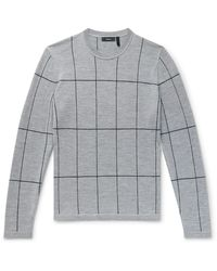 Theory Malio Checked Merino Wool Jumper - Grey