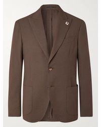Lardini Unstructured Cotton-blend Seersucker Blazer - Brown