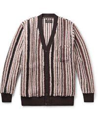 Beams Plus Striped Fleece Cardigan - Brown