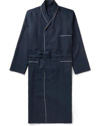 Anderson & Sheppard Piped Linen Robe - Blue