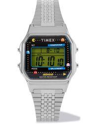 Timex Pac-man T80 34mm Stainless Steel Digital Watch - Metallic