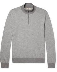 Hackett | Mélange Wool-blend Half-zip Sweater | Lyst
