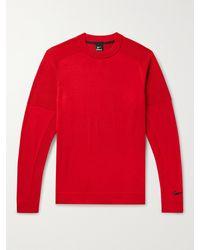 Nike Tiger Woods Mesh-trimmed Wool-blend Golf Jumper - Red
