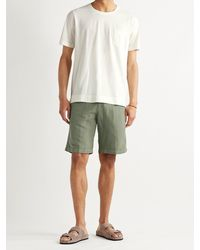 Massimo Alba Slim-fit Linen And Cotton-blend Shorts - Green